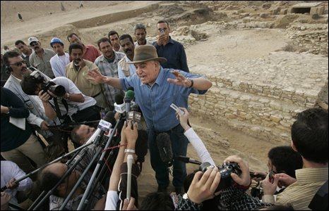 Egyptian archaeologist at site of new pyramid in Saqqara, south of Cairo, on 11 November 2008