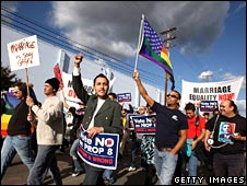 Supporters of gay marriage march in Los Angeles on 9 November 2008