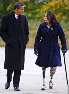 US President-elect Barack Obama marked Veterans Day with a Gulf War veteran at a memorial in Chicago, Illinois, on 11 November 2008
