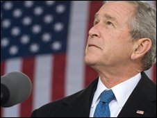US President George W Bush in New York on 11 November 2008