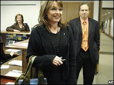 Alaska Gov Sarah Palin returns to her office in Anchorage, Alaska, on Friday 7 November 2008