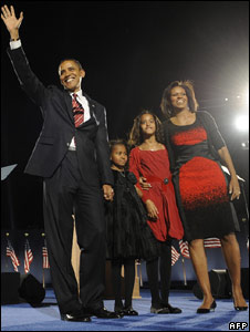 Barack and Michelle Obama with their two daughters on election night