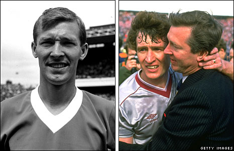 Sir Alex in a Rangers shirt (left) and with Sandy Jardine following the 1986 Scottish Cup final