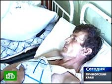 Survivor Viktor Rifk in hospital. Photo: NTV television