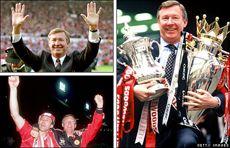 Clockwise from top left - winning the league in 1993, doing the double in 1996, Sir Alex with Bryan Robson following 1990 FA Cup Final win
