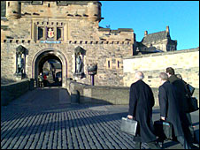 Professor Manfred Wehdorn (L) at Edinburgh Castle (Pic: Morag Kinniburgh)
