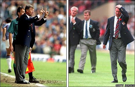 Sir Alex Ferguson on the touchline at West Ham (left) and losing to Everton in the FA Cup Final (right) in 1995
