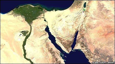 Satellite image of Sinai peninsula