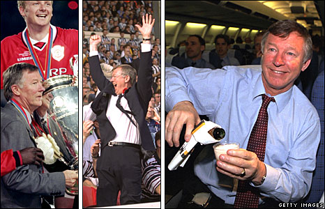 Left-right: Lifting the Champions League trophy, celebrating at the FA Cup Final, pouring champagne on the journey back from Barcelona