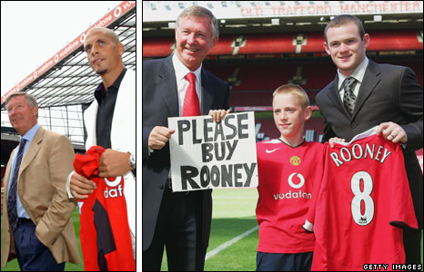 Sir Alex Ferguson with Rio Ferdinand (left) and Wayne Rooney
