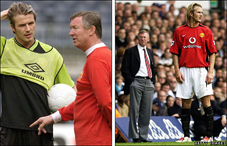 Sir Alex Ferguson with David Beckham in 1999 (left) and 2003