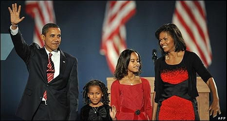 Barack Obama and family celebrate victory