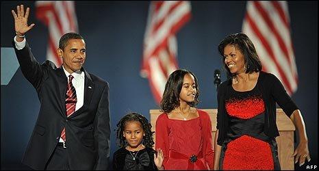 Barack Obama and family celebrate victory