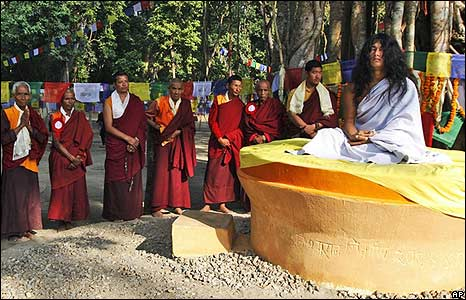 Ram Bahadur Bamjan (R), believed to be the reincarnation of Buddha, is surrounded by Buddhist monks in Nijgadh town, Nepal