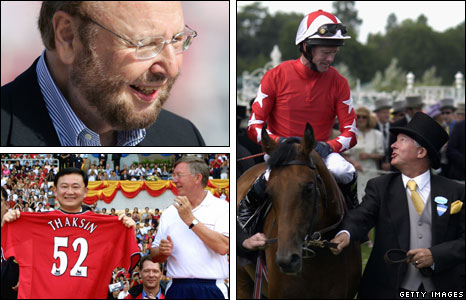 Clockwise from top left: Malcolm Glazer, Ferguson with Rock of Gibraltar, Thaksin Shinawatra with Ferguson