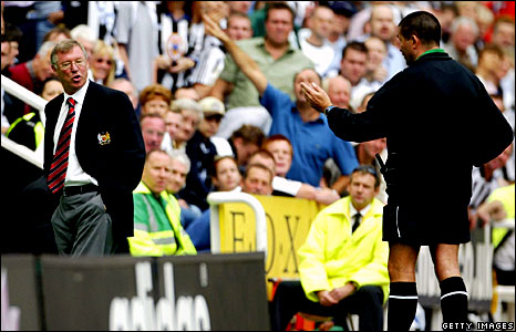 Sir Alex Ferguson is sent off by fourth official Jeff Winter in 2003