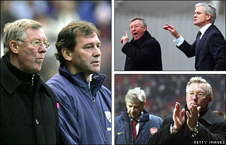Clockwise from left: Ferguson with Bryan Robson, Ferguson with Mark Hughes, Ferguson with Arsene Wenger