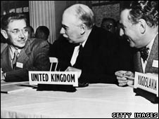 J Maynard Keynes at meeting in 1944