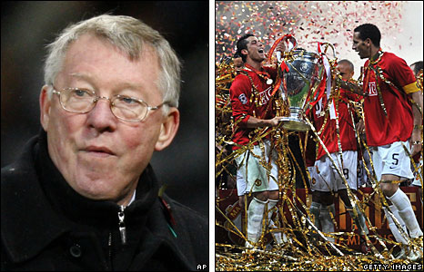 Sir Alex Ferguson after Tuesday's 1-0 win over QPR (left), and players celebrating the 2008 Champions League win