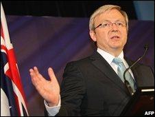 Mr Rudd speaks in Sydney on 17 October