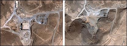 صورة لموقع المنشأة النووية السوري المزعوم (يمين أكتوبر 2007، يسار أغسطس 2007)