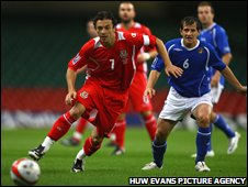 Wales midfielder Simon Davies in action against Azerbaijan in the World Cup qualifying opener