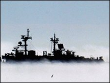 USS Boxer in fog off the coast of Calif, Oct 2008