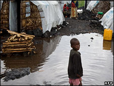 A displaced child at a camp outside Goma