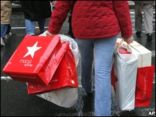 Shopper with Macy's bags