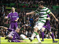 Cillian Sheridan fires in Celtic's second goal of the evening