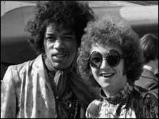 Jimi Hendrix and Mitch Mitchell at Heathrow Airport in London on 21 August 1967