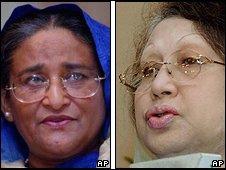 Sheikh Hasina (l) and Khaleda Zia