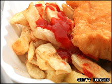 Fish, chips and tomato ketchup