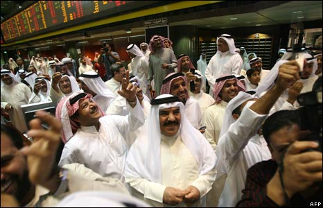 Investors at the Kuwait Stock Exchange