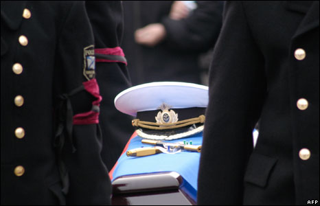 The funeral of one of the sailors killed in the submarine accident