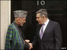 Afghan President Hamid Karzai and Prime Minister Gordon Brown
