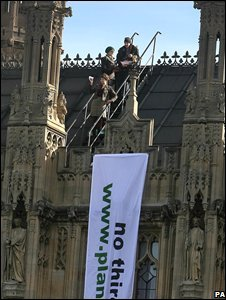 climate change activists on House of Commons roof
