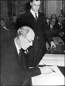 Lord Halifax signs Bretton Woods agreement