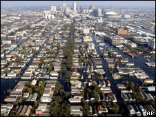 Aerial view showing the damage caused by Hurricane Katrina