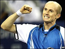 Nikolay Davydenko celebrates his win in Shanghai