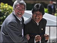 Presidente de Paraguay, Fernando Lugo, y de Bolivia, Evo Morales.