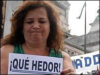 Manifestante en Buenos Aires