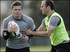 Brian O'Driscoll and Girvan Dempsey during Ireland training