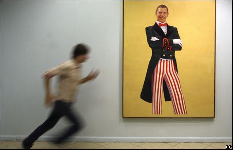 A painting of Obama by Russian artist Farid Bogdalov