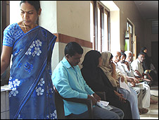 Patients at eye clinic