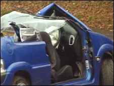 One of the cars after the crash