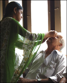 Patient at eye clinic