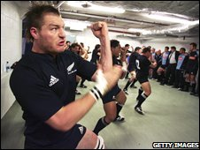 New Zealand performing the haka in their changing room