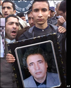 Khaled al-Megrahi protesting against his father's conviction