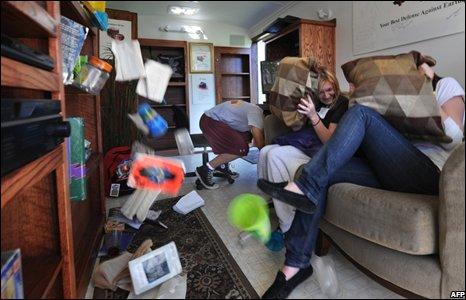 People in earthquake simulator